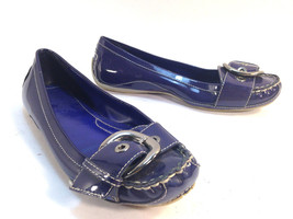 pretty pair of NINE WEST purple patent leather slide ballet flat loafers... - $9.85