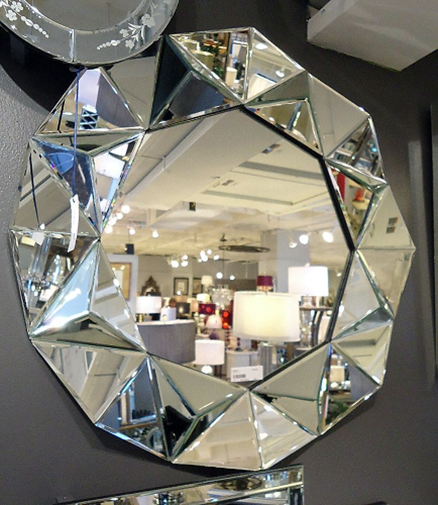 Modern Round Faceted Wall Mirror Frameless And 15 Similar Items