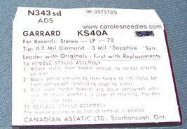 Astatic N343-sd NEEDLE STYLUS for Garrard ADS KS-40A 41A GDS-1 GDS-2 494-DS73 image 2