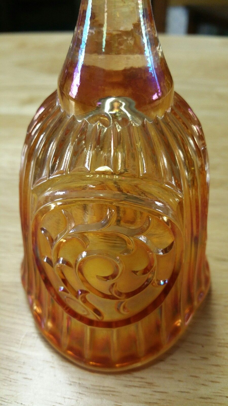 Good Luck Bell FENTON GLASS ORANGE 1988 HOACGA souvenir EXCELLENT 7""