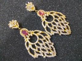 Beautiful fashion Pink & white cubic zirconia dangle/drop earrings,Gold ... - $19.99