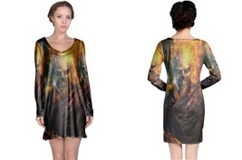 Skull On Fire Women's Long Sleeve Night Dress - $23.80+