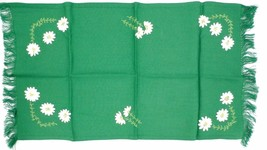 "Antique Runner Arts & Crafts Kelly Green & Daisies Appliques 29"" long Fl... - $35.49"