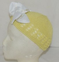 Unbranded Infant Toddler Hat Stretch Removable Bow Yellow White image 2