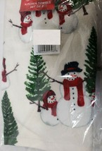 "SET OF 2 SAME PRINTED KITCHEN TOWELS (15""x 25"") CHRISTMAS TREES & SNOWME... - $13.85"