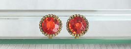 Vintage Shocking Orange 15MM Rhinestone Chaton Stud Pierced Earrings Box... - $13.49