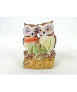 Vintage Porcelain Figurine, Pair of Loving Owls Cuddled On A Log, Hand P... - $12.69
