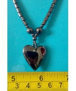 Hematite necklace heart shape pendant charm amulet Philippine made jewelry - $11.39