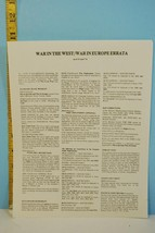 War in West / War in Europe Errata April 1976 - $17.81