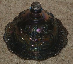 Imperial Purple Lustre Rose Carnival Glass Butter Dish Vintage - $56.09