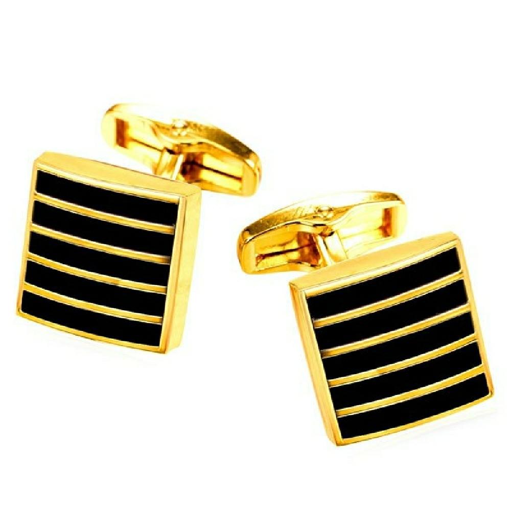Allowy geometric stripe cufflinks gold black