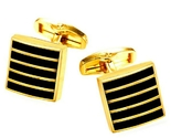 Allowy geometric stripe cufflinks gold black thumb155 crop