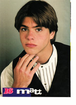 Matthew Lawrence teen magazine pinup clipping hand on his face black vest Bop