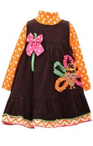 Bonnie Jean Little Girls 4-6X Brown/Orange Bonaz Turkey Corduroy Jumper Dress
