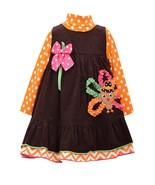 Bonnie Jean Little Girls 4-6X Brown/Orange Bonaz Turkey Corduroy Jumper ... - $32.90