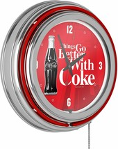 Coke Chrome Double Rung Neon Clock - Coca-Cola Things Go Better with Cok... - $195.00