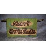 Rustic Primitive Americana Merry Christmas Barn Wood Box with Rope Handl... - $3.95