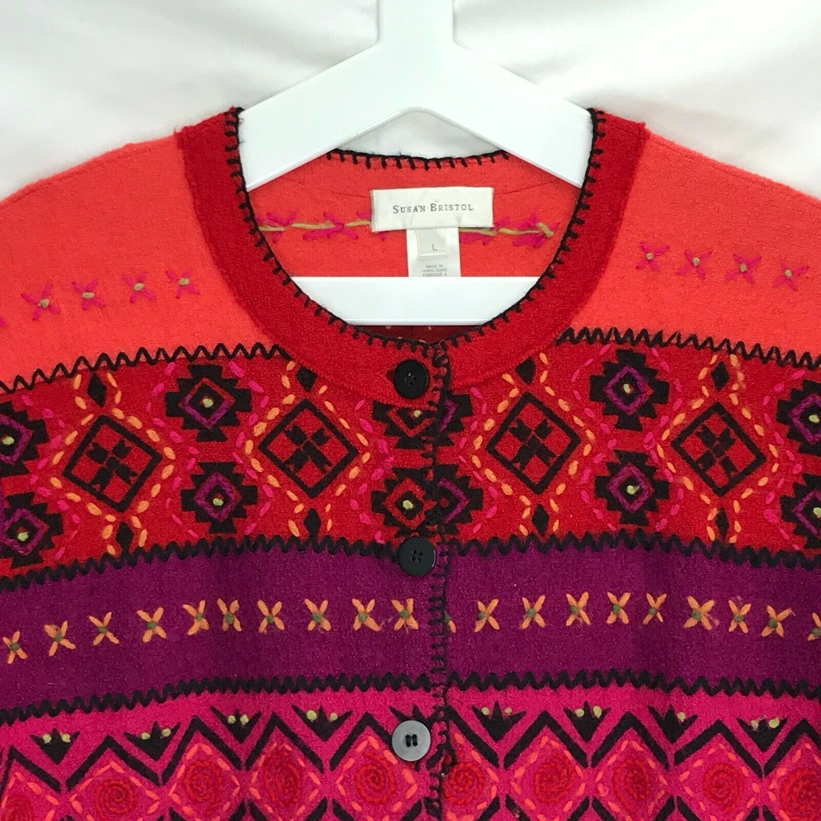 Susan Bristol Wool Cardigan Sweater Size Large L Button Front Hand Embroidered image 2