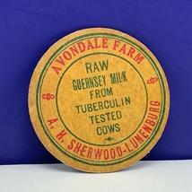 Milk Bottle cap vtg dairy farm advertising label Avondale sherwood lunen... - $12.55
