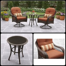 3 Piece Outdoor Bistro Set Swivel Chairs Round Table Outdoor Backyard Fu... - €253,36 EUR
