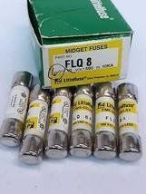 Littelfuse FLQ8 Box Of 6 Fuses Midget 500V 8A 10KA - $31.04