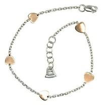 Bracelet en or Blanc Rose 18K 750, Coeurs Plats, Coeur, Longueur 18 cm, Italie image 2