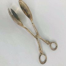 Salad Tongs Silverplated Made Italy Vintage EP Zinc Serving Tongs Scisso... - $21.75