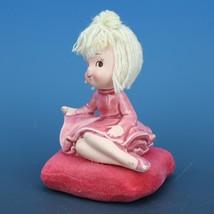 Vintage Japanese Mophead Girl Figurine on Velvel Flocked Pink Pillow image 2