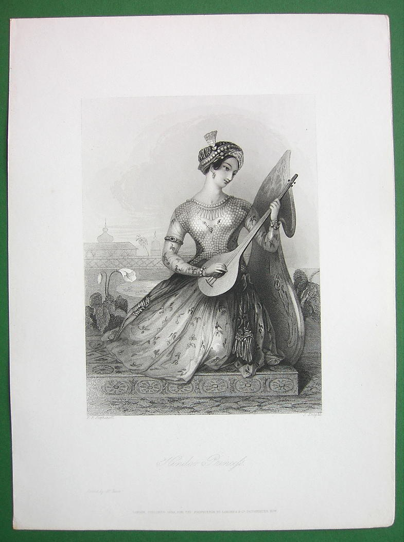 Primary image for YOUNG BEAUTY Hindoo Pricess Costume Playing Lute - Antique Print Engraving