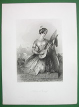 YOUNG BEAUTY Hindoo Pricess Costume Playing Lute - Antique Print Engraving - $16.20