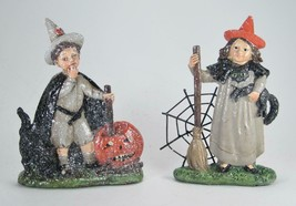 Boy & Girl Glittered Figurines in Halloween Costumes Tabletop Fall Decor - $28.66