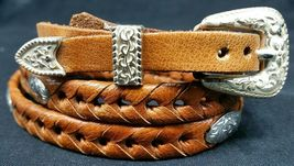 HATBAND Saddle Tan LEATHER with SILVER Oval CONCHOS and Buckle Cowboy Ha... - $20.26