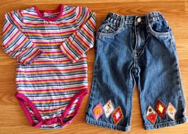 Girl's Size 12 M Months 2 Piece Children's Place Striped L/S Top & Denim... - $13.00