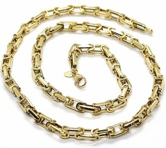 18K YELLOW GOLD CHAIN BIG ALTERNATE OVALS 7 MM 24 INCHES, SQUARED NECKLACE SHOWY image 1