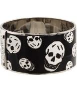 Alexander McQueen Black Enamel White Skull Bangle Cuff Bracelet - $250.00