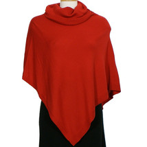 EILEEN FISHER Lacquer Red Merino Wool Jersey Turtle Neck Poncho Sweater - $129.99