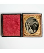 Antique Ambrotype Young Couple Hand Tinted Abe Top Hat 1850s Civil War u... - $643.49