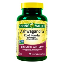 Spring Valley Ashwagandha Root Powder Vegetarian Capsules, 800 mg, 60 count+ - $24.55