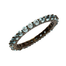 Stackable 925 Sterling Silver 1.30 Ctw Blue Topaz Full Eternity Band Wom... - $13.60