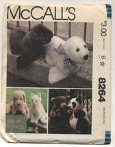 McCall's Stuffed Bear, Panda, Seal, Dog and Cat Sewing Pattern #8264 - $22.05