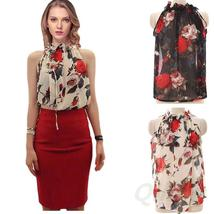 Sexy Women Chiffon Sleeveless High Ruffle Neck Floral Pleated Shirt Tops Blouse