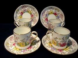 Set Of 4 Crown Staffordshire Demitasse Cup Saucer Set F15465 - $42.00