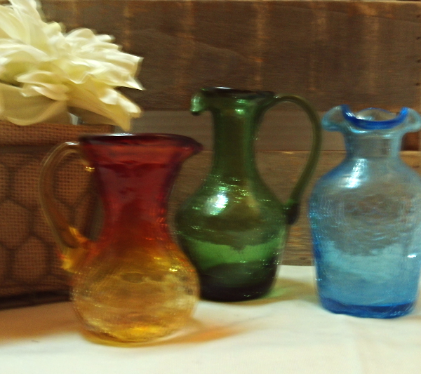 Mid Century Art Glass Hand Blown Crackle Glass Small Vases Blue, Amberina, Green