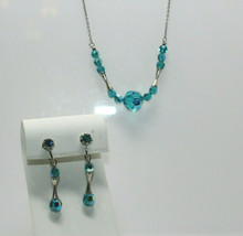 "Vintage Silvertone Blue/Green AB Crystal Beaded 17"" Necklace & Earring S... - $14.85"