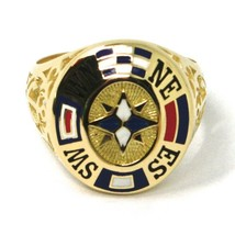 18K YELLOW GOLD BAND MAN RING, NAUTICAL ANCHOR, FLAGS, ENAMEL, COMPASS WIND ROSE image 2