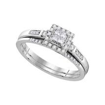 10kt White Gold Princess Diamond Cluster Bridal Wedding Ring Set 1/4 Cttw - $427.15