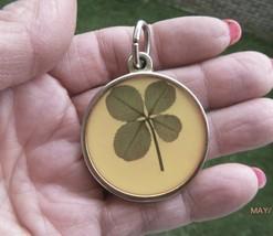 """Vintage Pendant 4 Leaf Clover Gold Tone Shamrock St. Patrick's Day 1.25"""" - $12.19"""