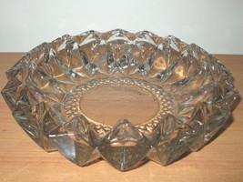 KIG INDONESIA DIAMOND CUT CRYSTAL ASH TRAY CANDY DISH BOWL - HEAVY VINTAGE - $19.79