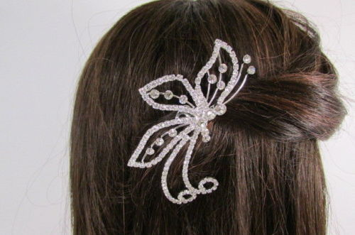 Women Silver Metal Head Fashion Jewelry Butterfly Hair Pin Bridal Wedding Party image 2