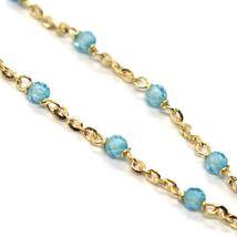 Bracelet or Jaune 18K 750, Cubic Zirconia Bleus, Sphères à Facettes, Rolo image 3